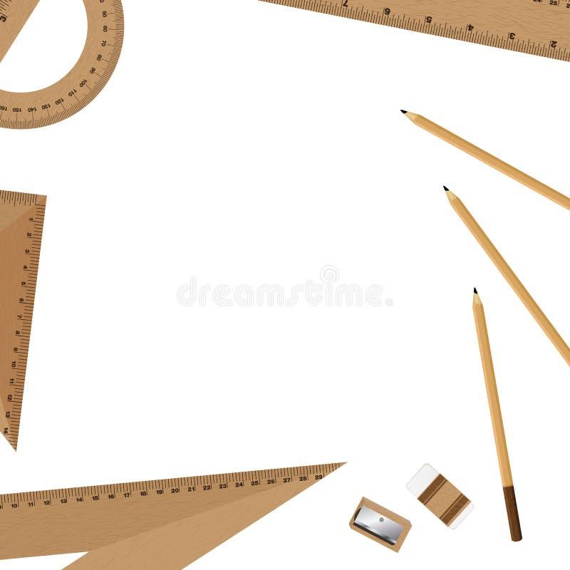 Władca i ołówek, gumka z ostrzarką odizolowywającą na białym tle royalty ilustracja