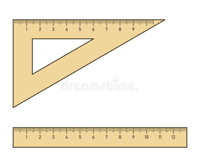 Władca i trójboka setsquare ilustracji