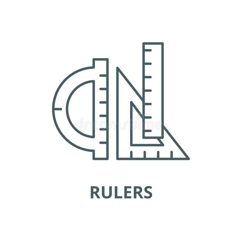 Władca wektoru linii ikona, liniowy pojęcie, konturu znak, symbol ilustracja wektor