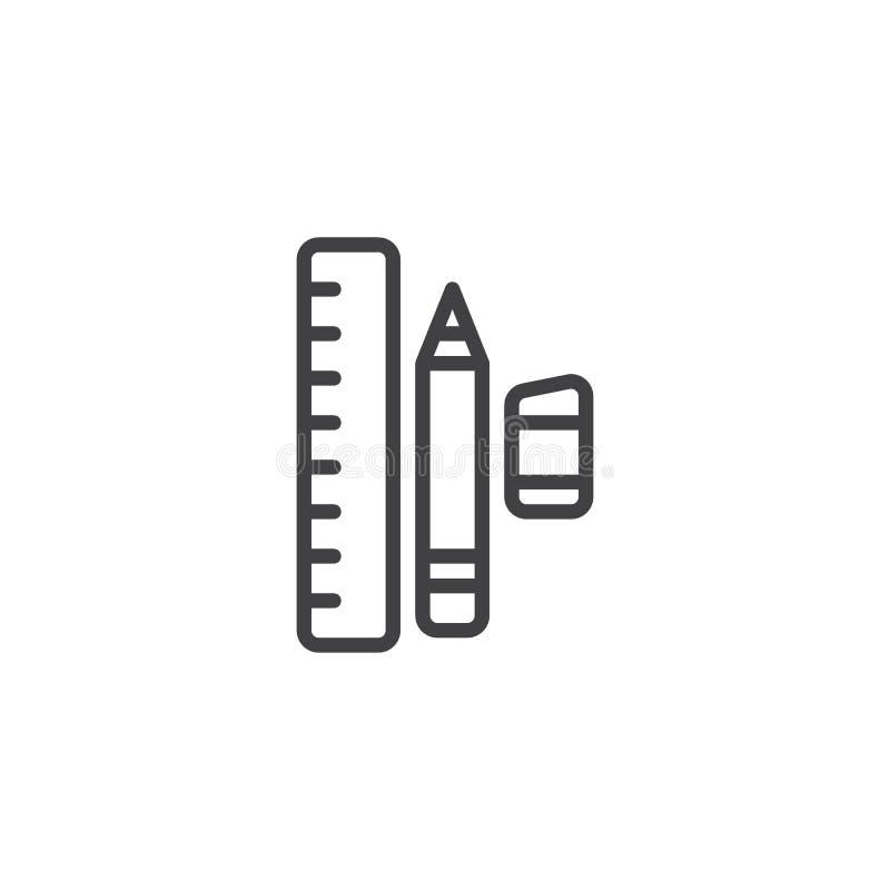 Władcy gumki i ołówka kreskowa ikona royalty ilustracja