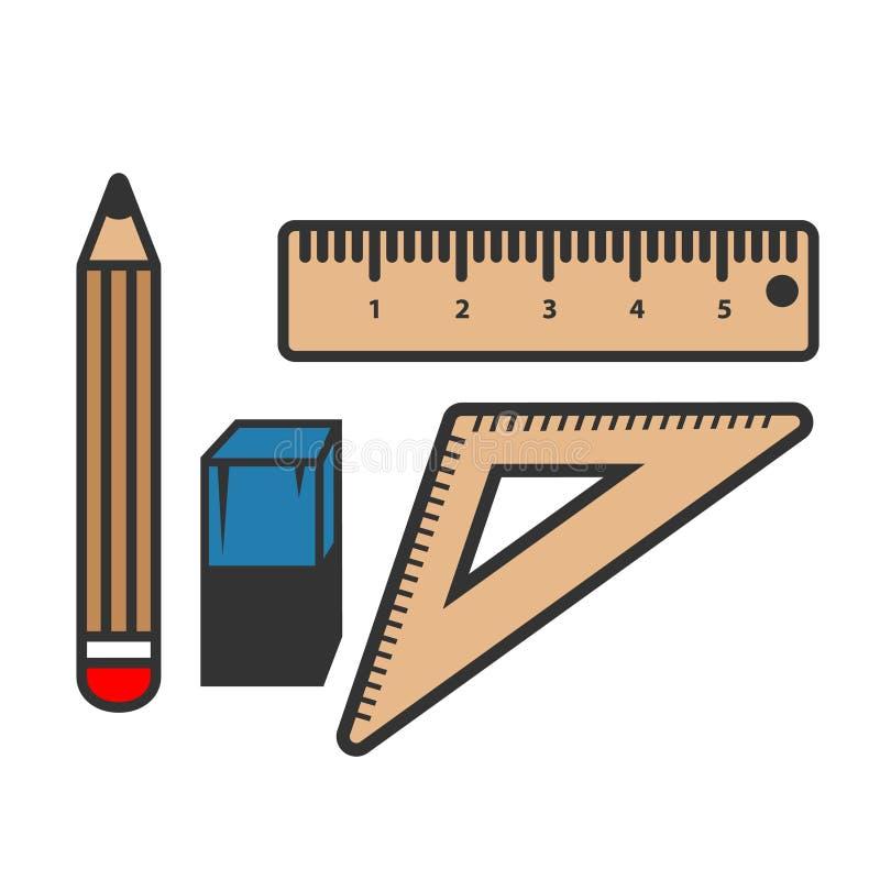 Władcy i ołówka ikona odizolowywająca na białym tle Władcy i ołówka ikona w modnym projekcie projektuje ilustracja wektor