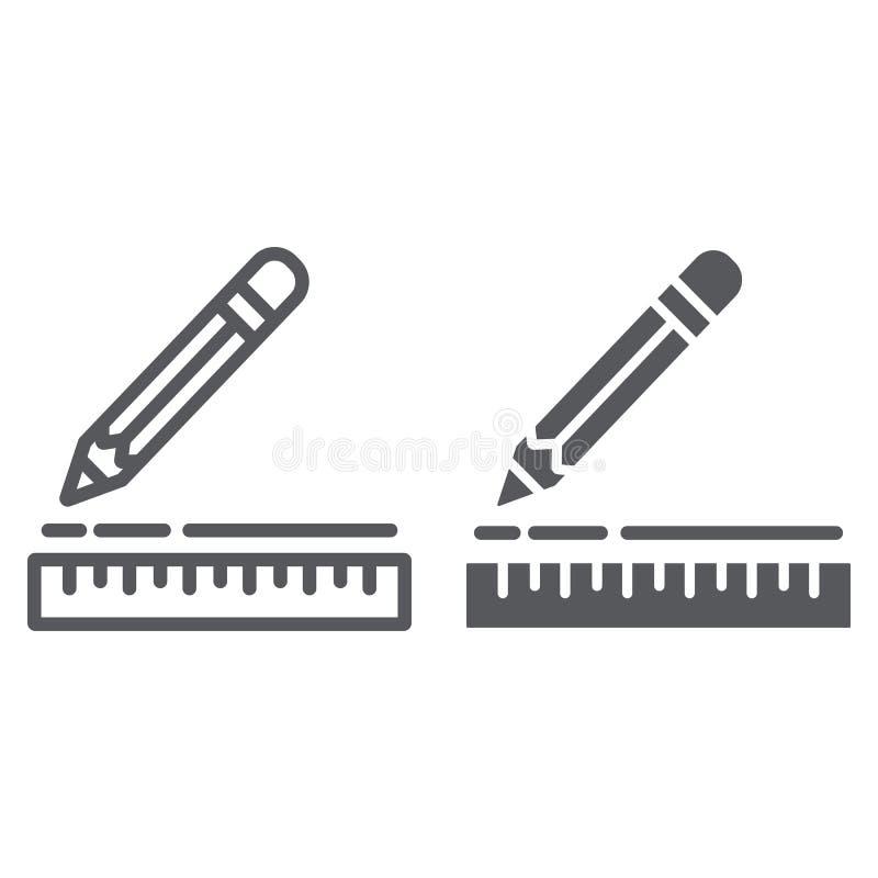 Władcy i ołówka linia glif ikona, instrument i szkoła, rysunkowego wyposażenia znak, wektorowe grafika, liniowy wzór ilustracja wektor