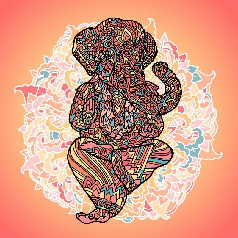 Władyka Ganesha na indyjskim mandala tle Azjata wzór z liśćmi i kwiatami Joga stylu druk Kolorowy wektor royalty ilustracja