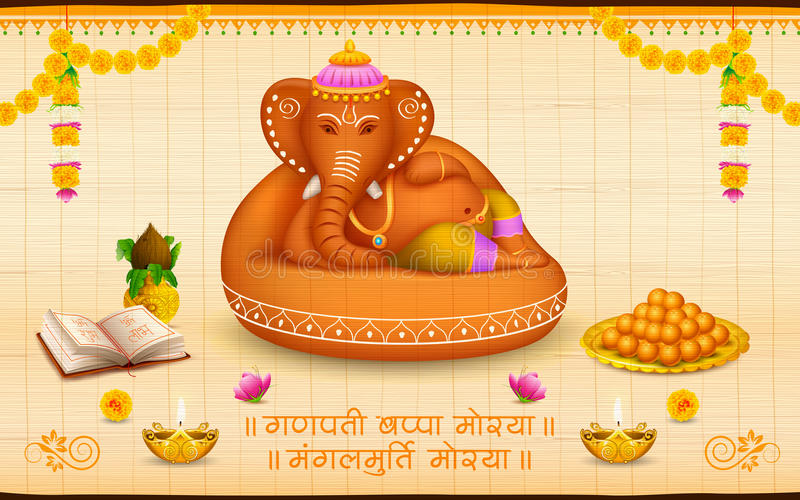 Władyka Ganesha robić gliniany Ganesh Chaturthi royalty ilustracja