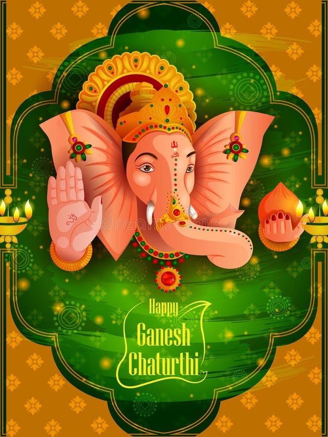 Władyka Ganpati na Ganesh Chaturthi festiwalu tle ilustracji