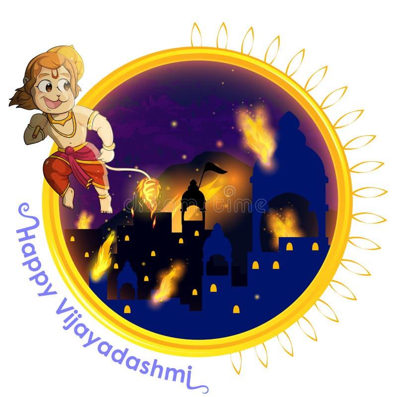 Władyka Hanuman pali Lankę z ogieniem na jego ogonie ilustracja wektor