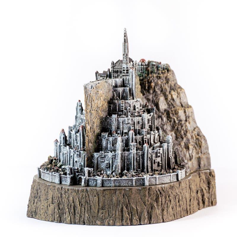 Władyka pierścionek figurka pokazuje Białego miasto, Minas Tirith fotografia stock