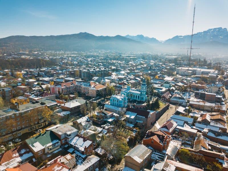 Władykaukaz, stolica Osetii Północnej Panorama historycznego centrum z lotu drona fotografia stock