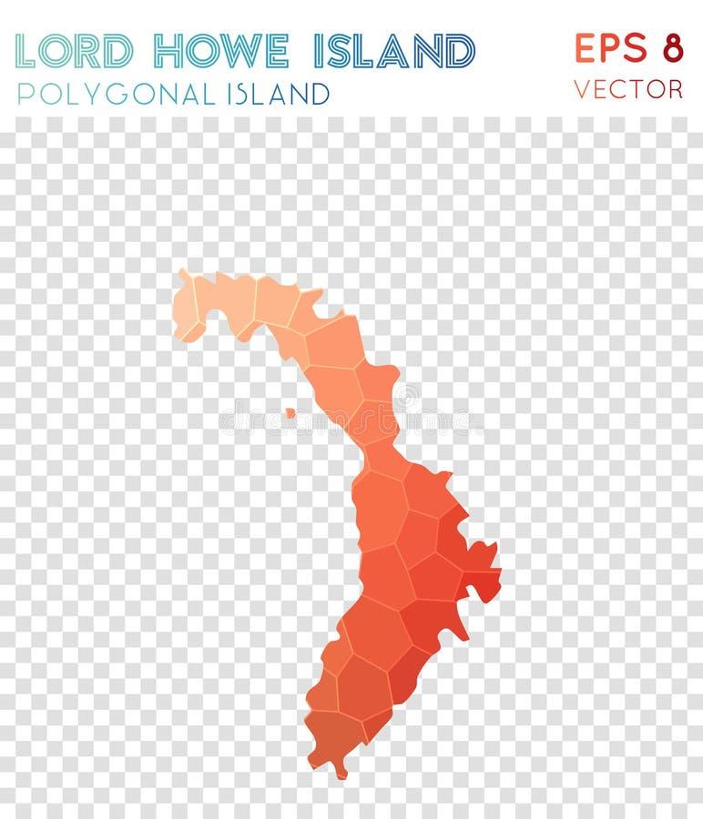 Władyki Howe wyspy poligonalna mapa, mozaika styl ilustracja wektor