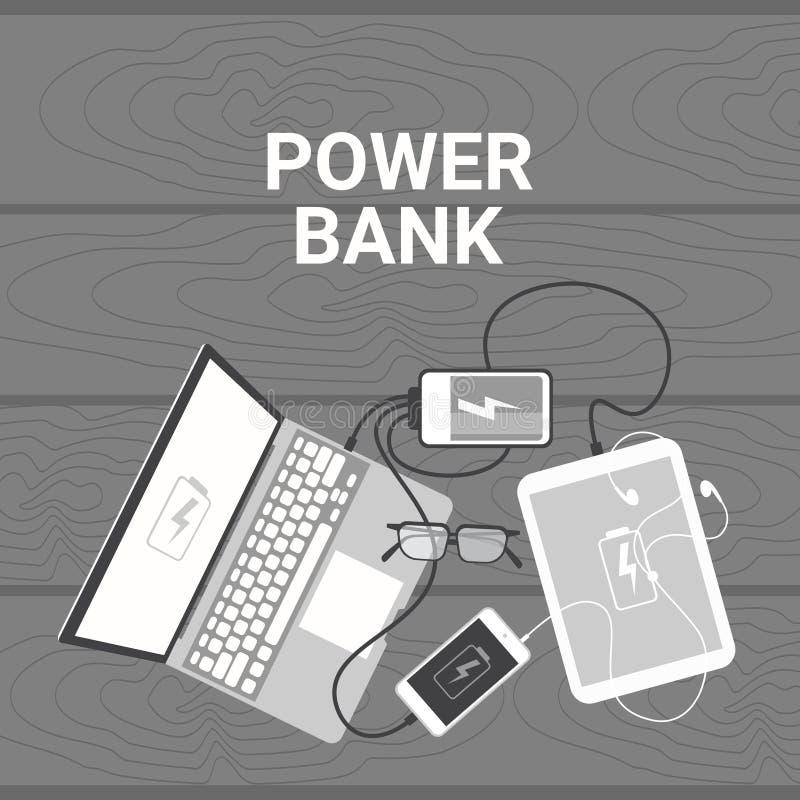 Władza banka pojęcie Ustawiający przyrząda Ładuje Od Przenośnego Bateryjnego Mobilnego ładowarka laptopu, Mądrze telefonu Cyfrowe royalty ilustracja