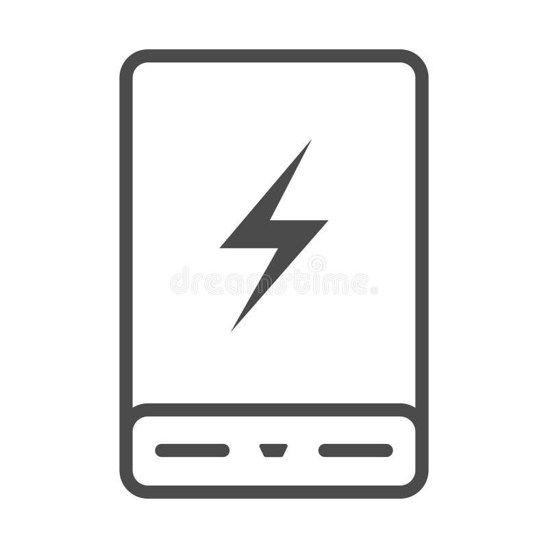 Władza banka telefonu ładowarki Minimalistic mieszkania linii konturu uderzenia Bateryjna ikona ilustracja wektor