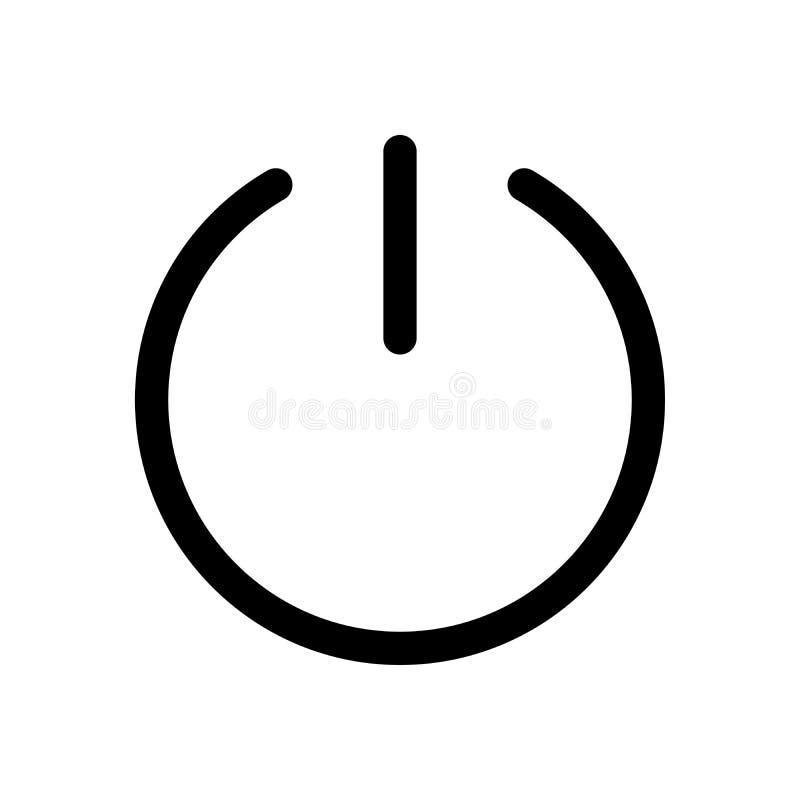 Władza guzika ikona Symbol początek lub obraca dalej Konturu nowożytnego projekta element Prosty czarny płaski wektoru znak z zao ilustracji