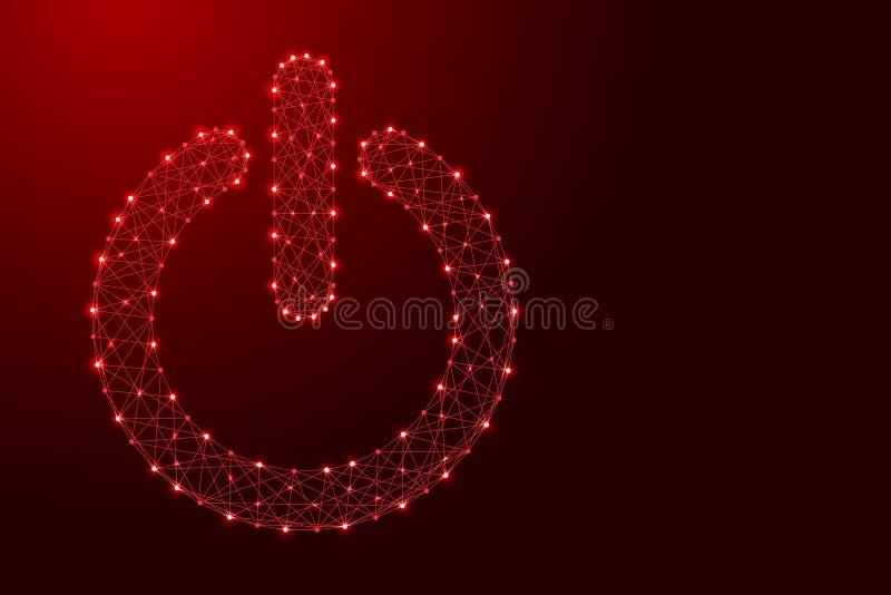 Władza guzika początku ikona od futurystycznych poligonalnych czerwonych linii i royalty ilustracja