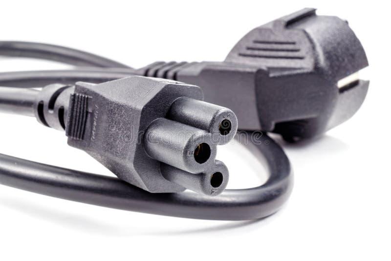 Władza kabla nasadka dla związku źródło zasilania na białym tle zdjęcie royalty free