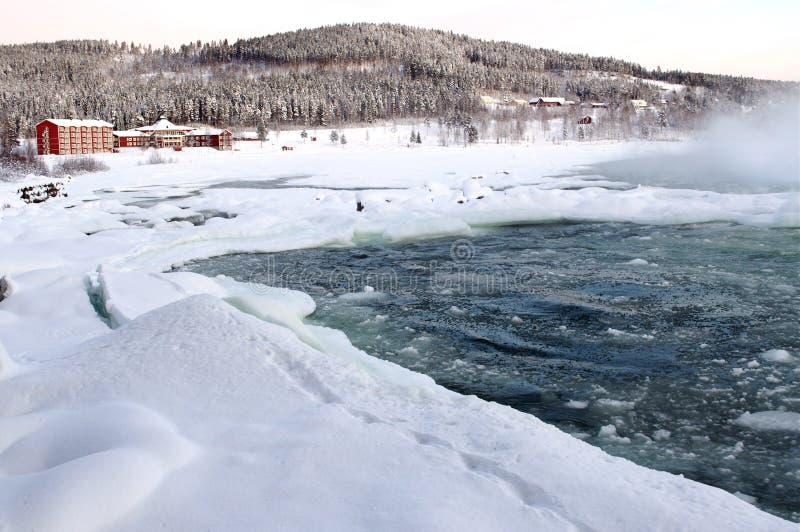 Władza naturą, duża siklawa Storforsen w zimie, obraz royalty free