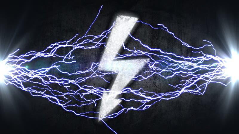 Władza symbol Elektryczni rozładowania w znaku żarówki pojęcia energii światła pluśnięcia woda zdjęcie stock