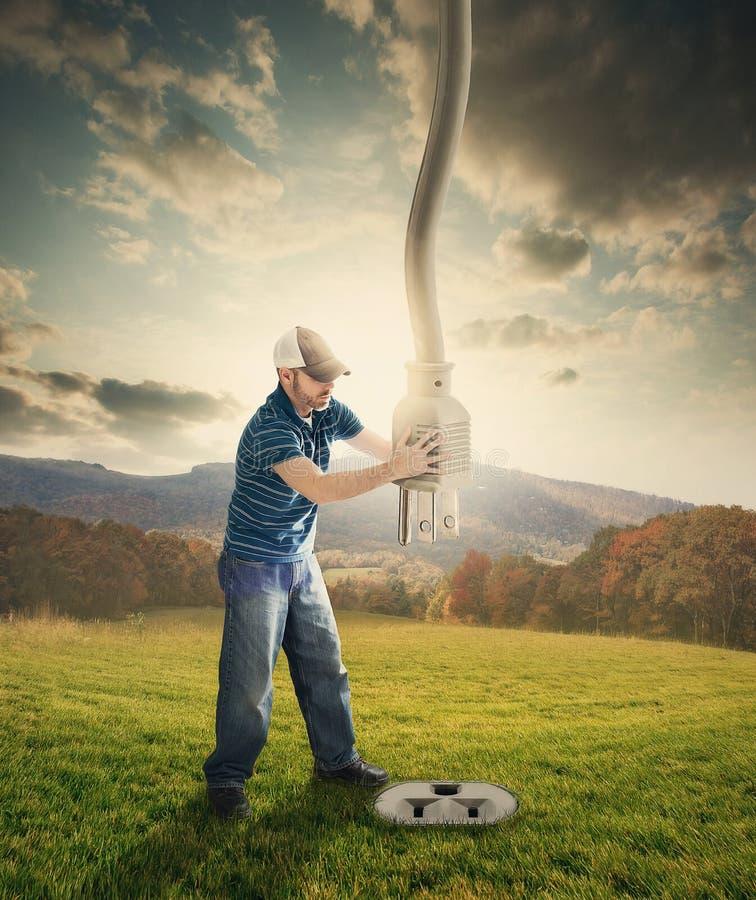 Władza sznur od nieba. zdjęcie stock