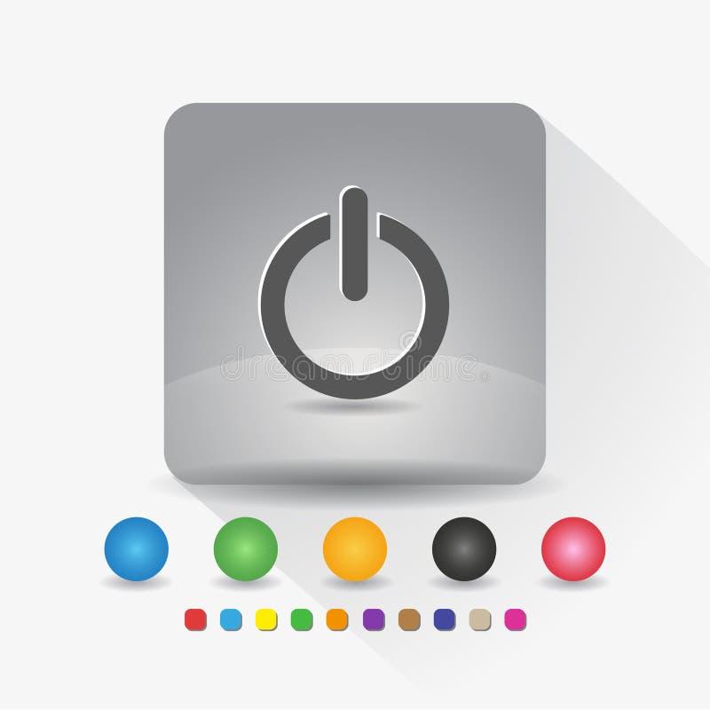Władza z na guzik ikonie Szyldowy symbolu app w szarość kwadrata kształta round kącie z długiego cienia wektorową ilustracją i ko ilustracji