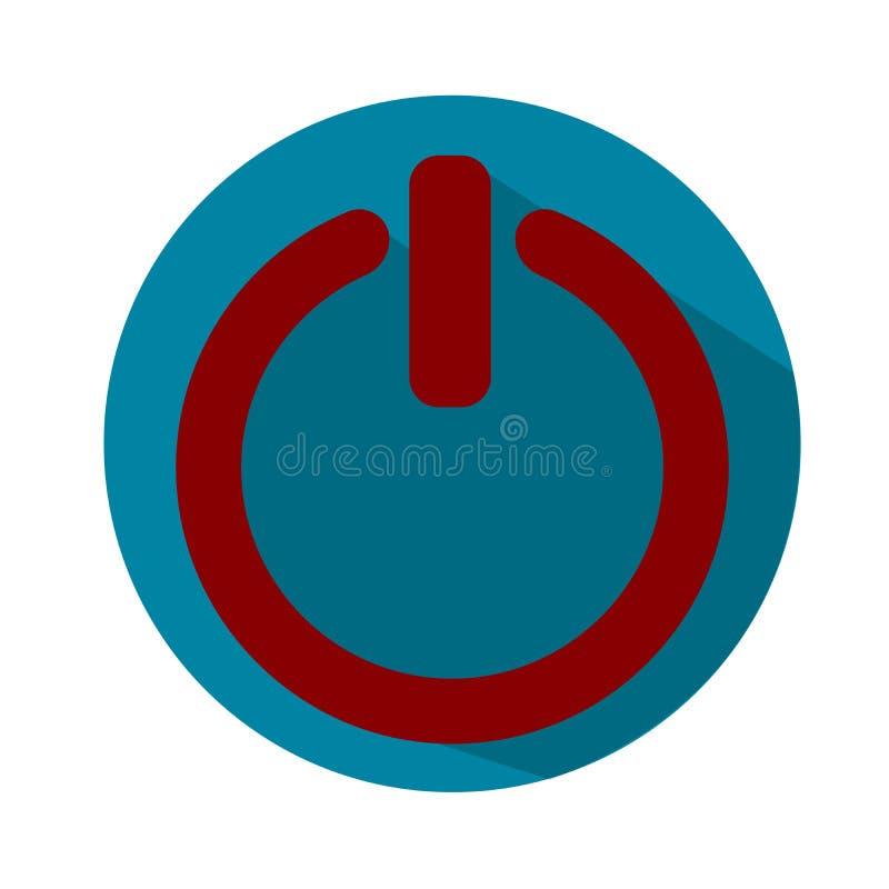 Władza z na guzika znaka ikonie, ilustracja Płaski projekta styl Błękitna i czerwona ikona royalty ilustracja