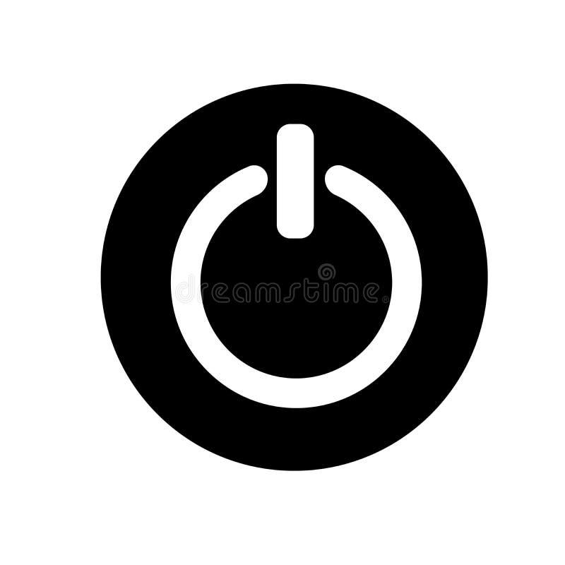 Władza z na guzika znaka ikonie, ilustracja Płaski projekta styl czarny i biały ikona zdjęcie stock