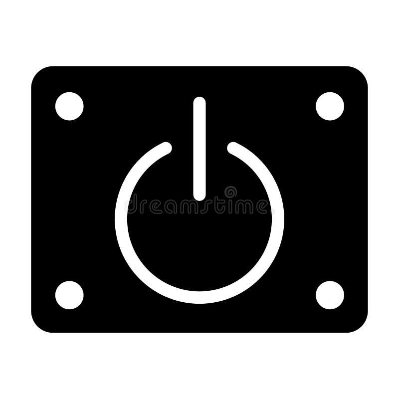 Władza z na stałej ikonie Władza guzika wektorowa ilustracja odizolowywająca na bielu Zaczyna glifu stylu projekt, projektującego ilustracji