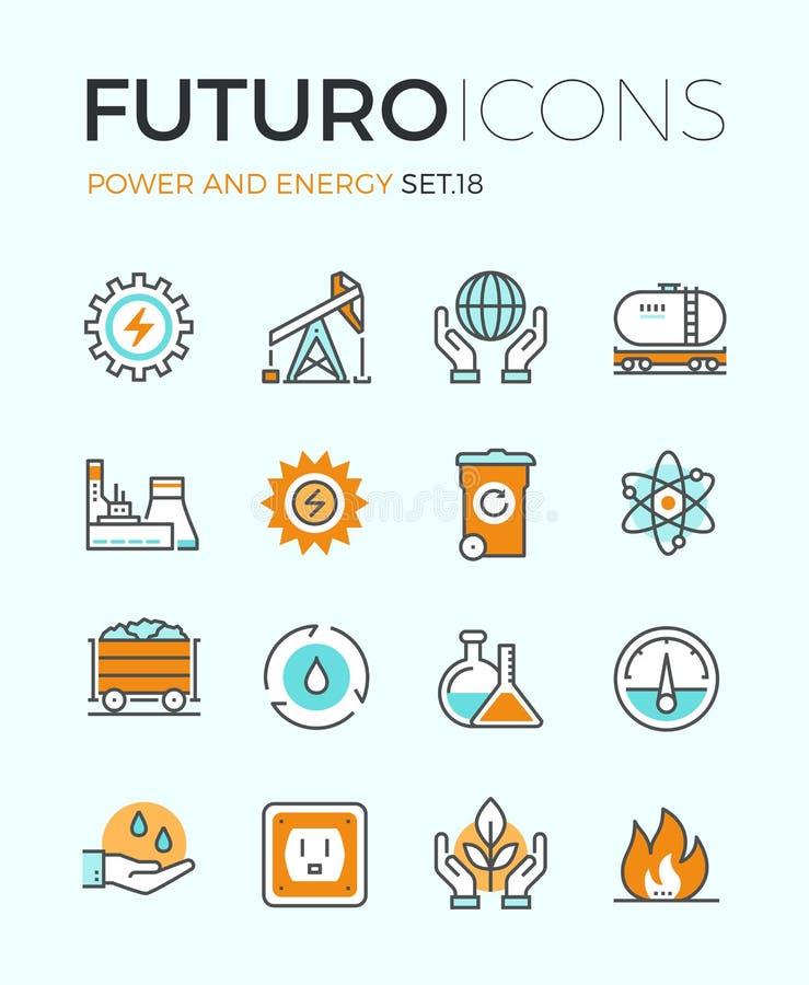 Władzy i energii kreskowe ikony royalty ilustracja
