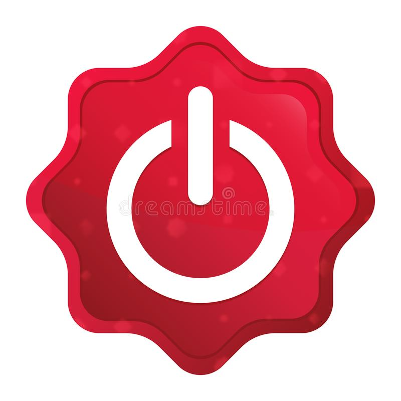 Władzy ikony starburst majcheru mglisty różany czerwony guzik ilustracja wektor