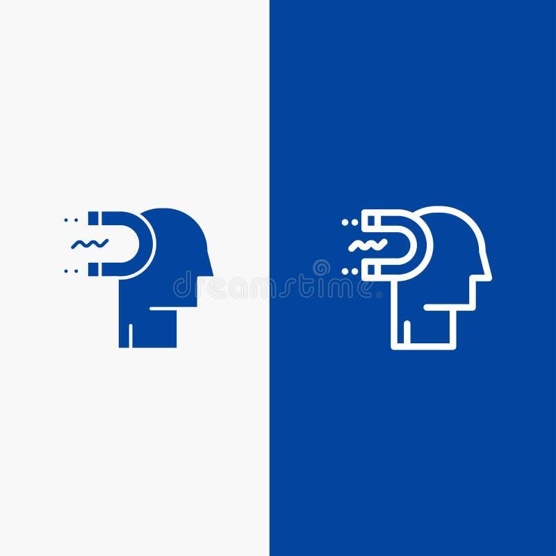 Władzy, oddziaływania, zobowiązania, istoty ludzkiej, oddziaływania, Ołowianej linii i glifu Stałej ikony sztandaru glifu, Błękit ilustracja wektor