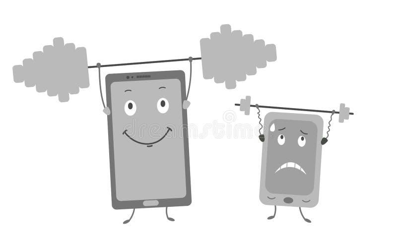 Władzy porównanie dwa telefonu royalty ilustracja