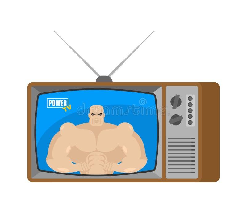 Władzy TV stara telewizja Bodybuilder dziennikarza nadawczy Sp royalty ilustracja