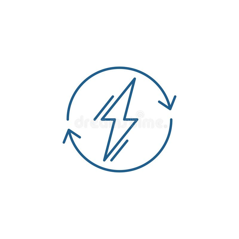 Władzy użycia linii ikony pojęcie Zasila użycie płaskiego wektorowego symbol, podpisuje, zarysowywa, ilustrację ilustracja wektor