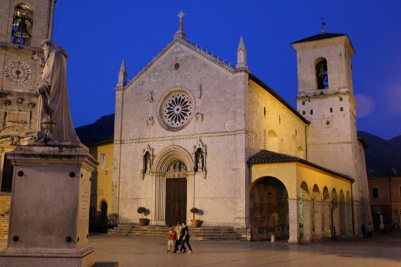 Włochy †'Norcia - kościół St Benedykt Benedetto lub San zdjęcia royalty free