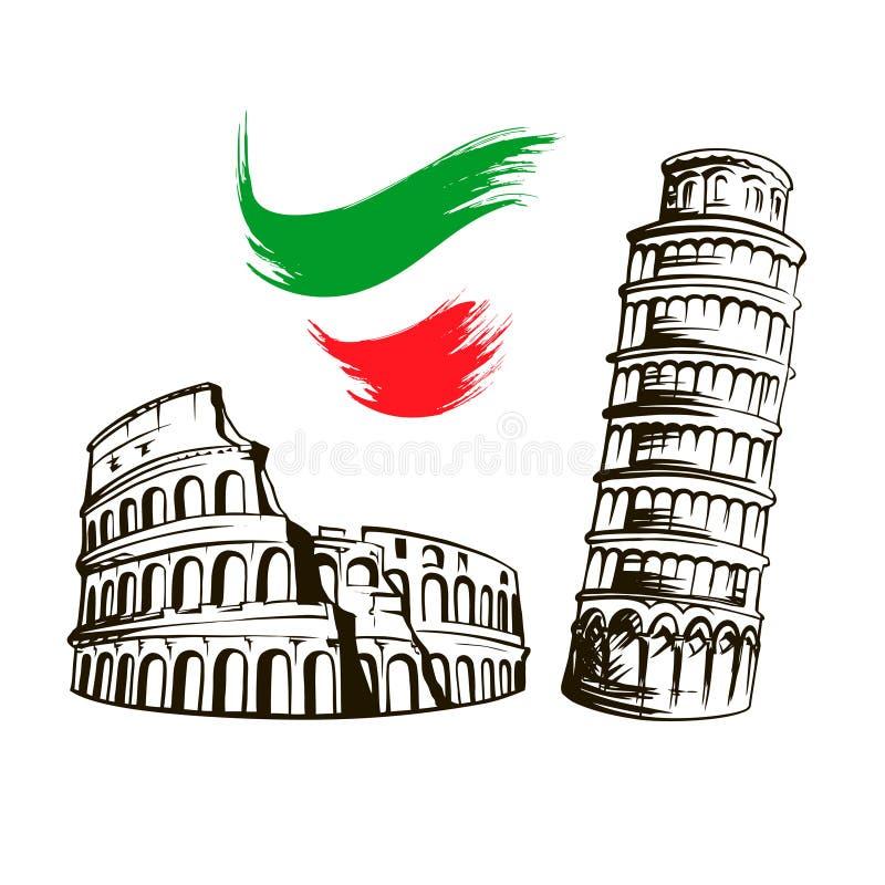Włochy, Colosseum, Oparty wierza Pisa ilustracja wektor