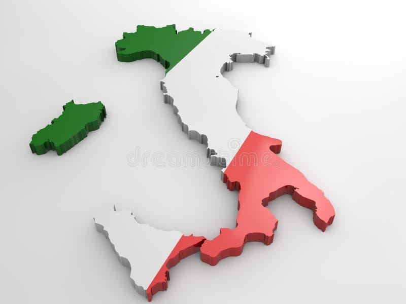 Włochy 3d flaga mapa na białym tle, ilustracji