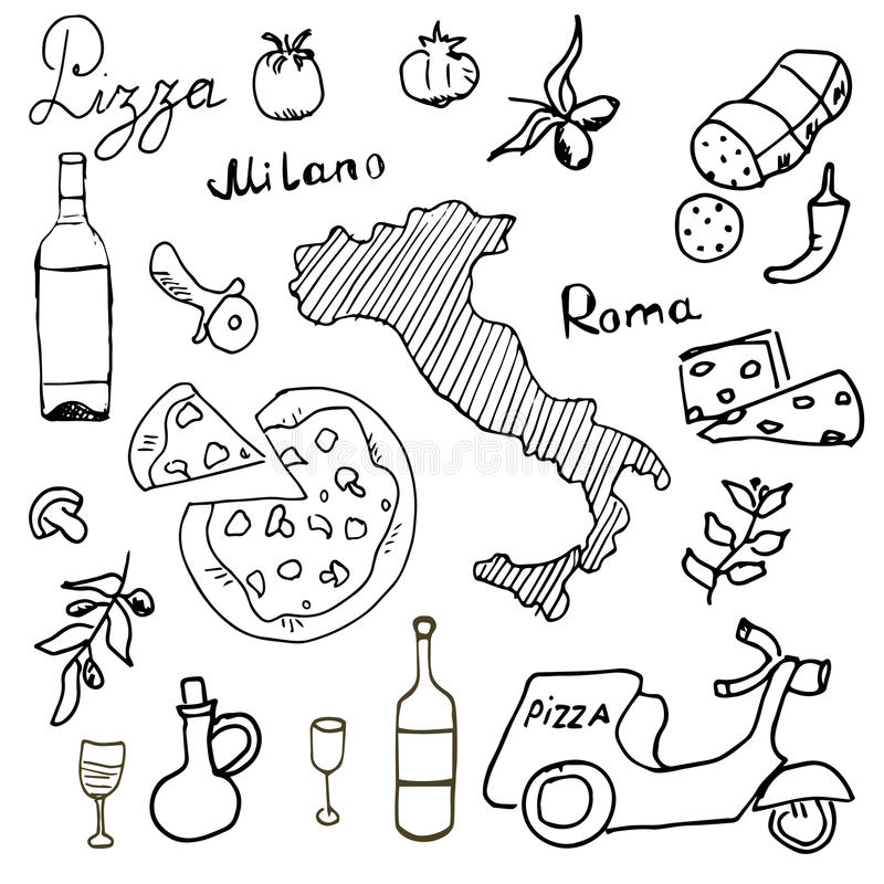 Włochy doodles elementy Wręcza rysującego set z hulajnoga, winem, serem i mapą pizzy, Rysunkowa doodle kolekcja, odizolowywająca  ilustracja wektor