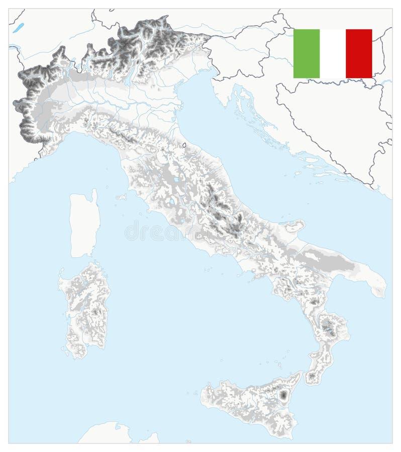 Włochy Fizyczna mapa Biała i Popielata - Żadny tekst ilustracji