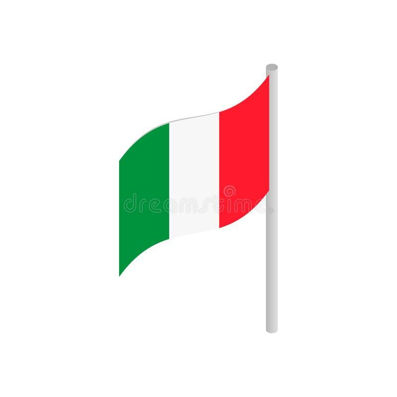 Włochy flaga ikona w isometric 3d stylu ilustracja wektor