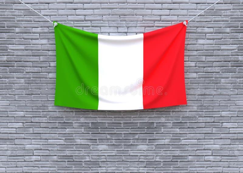 Włochy flaga obwieszenie na ściana z cegieł ilustracja wektor