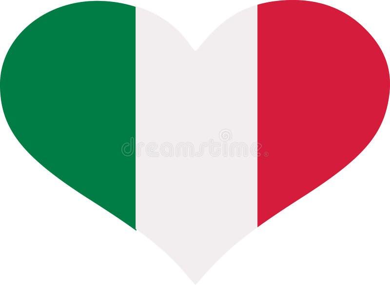 Włochy flaga serce ilustracji