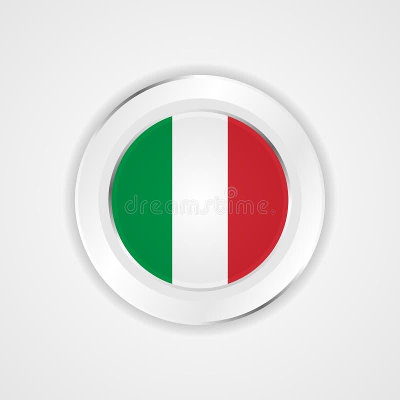 Włochy flaga w glansowanej ikonie royalty ilustracja