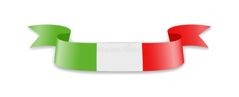 Włochy flaga w postaci falowego faborku royalty ilustracja