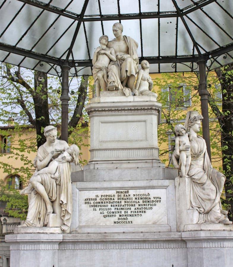 Włochy Florencja Zabytek dyplomata Nicholas Nikitich Demidov i filantrop obraz stock