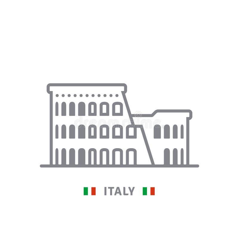 Włochy ikona z colosseum Rzym i włoch zaznaczamy royalty ilustracja