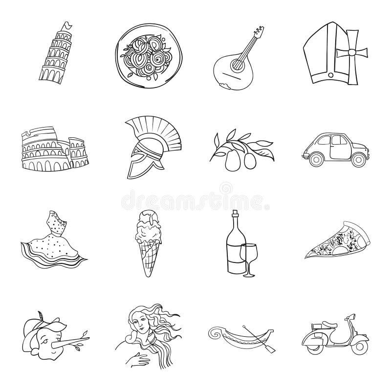 Włochy kraju ustalone ikony w konturu stylu Duża kolekcja Włochy kraju wektoru symbol ilustracji