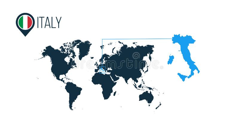 Włochy lokacja na światowej mapie dla infographics Wszystkie światowi kraje bez imion Włochy round flaga w mapa markierze lub szp royalty ilustracja