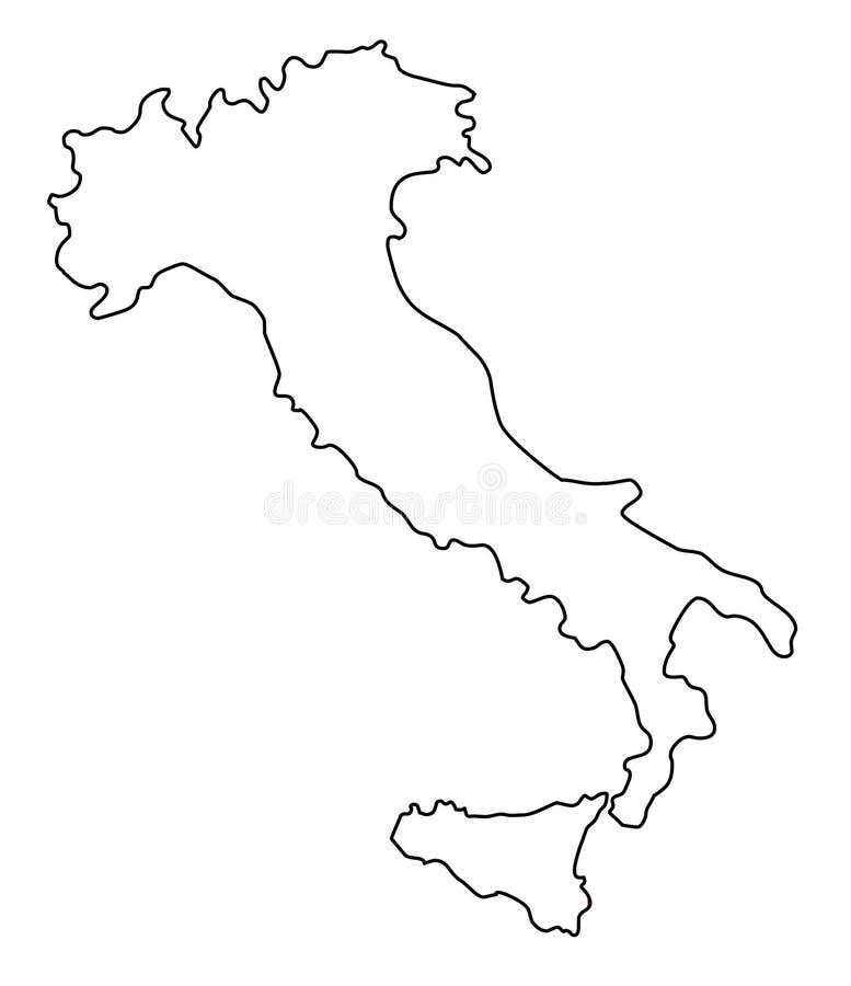 Włochy mapy konturu wektoru ilustracja ilustracji