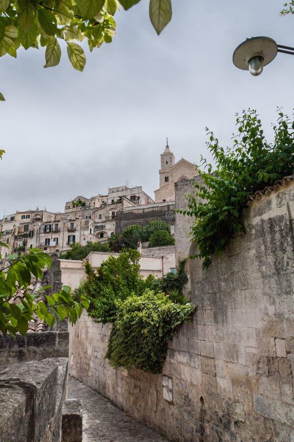 Włochy Matera Glimpse z Sasso Barisano w starożytnym dzielnicy Civita zdjęcie royalty free