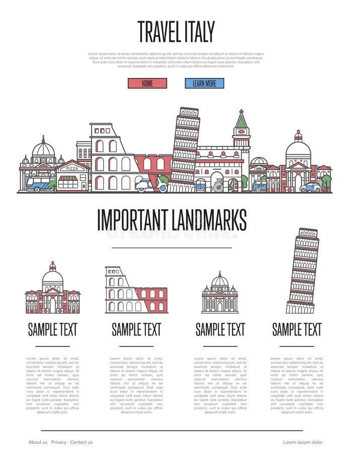 Włochy podróży infographics w liniowym stylu ilustracja wektor