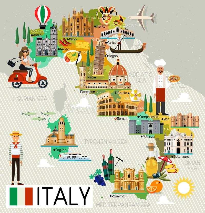 Włochy podróży mapa ilustracji