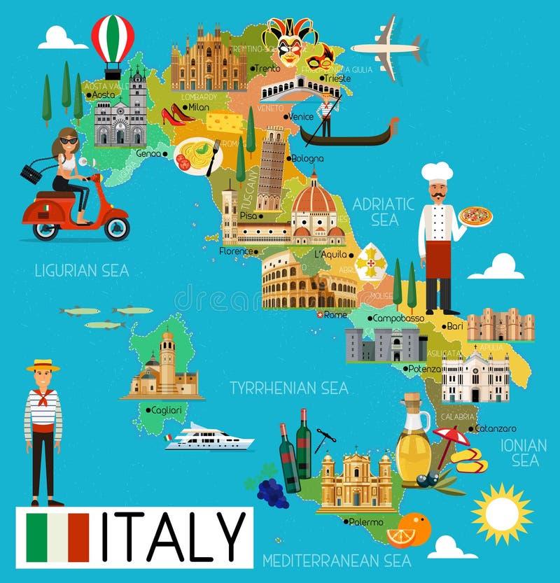 Włochy podróży mapa royalty ilustracja